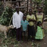 Family who participates in the goat breeding program