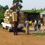 Unloading the Kenya top bar hives.