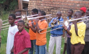 Youth Brigade practicing before a performance