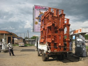 Typical school desks that are constructed in Uganda - this is a delivery bound for the school.